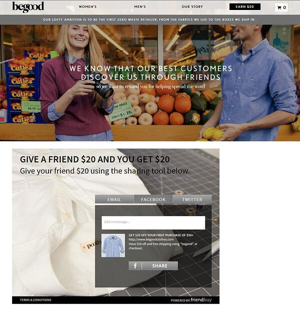 BeGood Clothing referral incentive