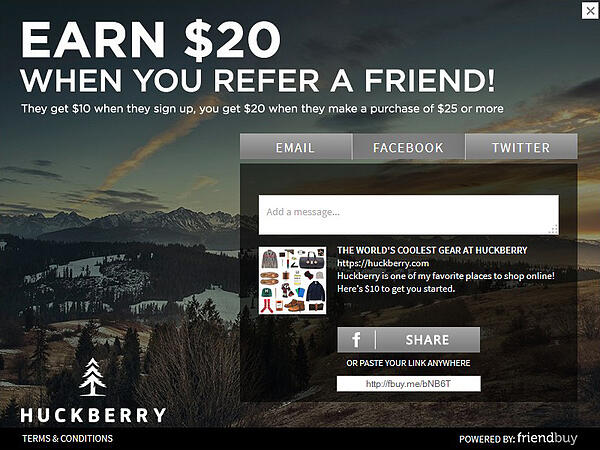Huckberry referral incentive