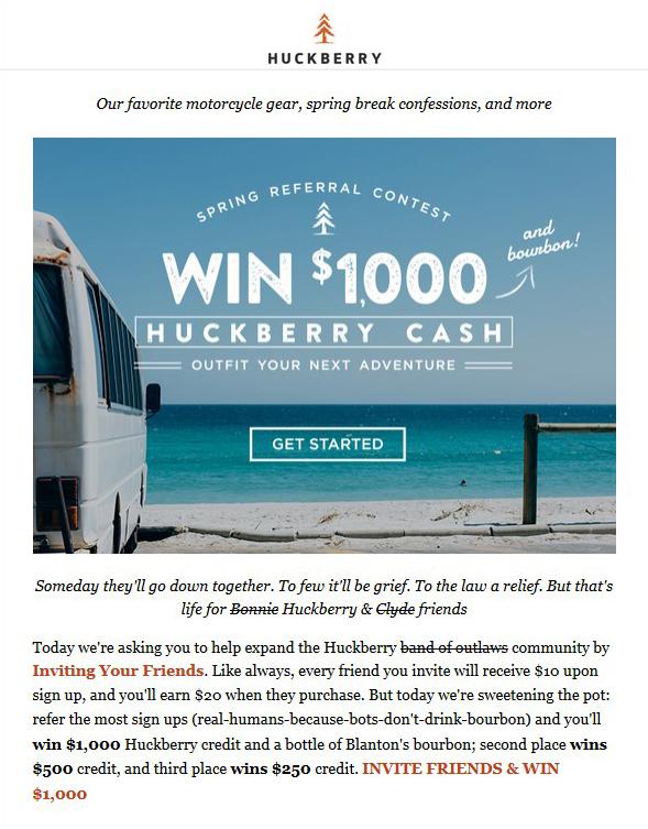 Huckberry spring referral contest