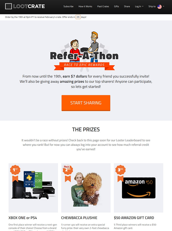LootCrate Refer-a-thon referral program