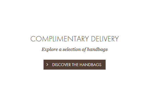 Louis Vuitton - Instead of free shipping - complimentary delivery messaged on home page