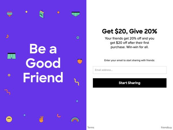MeUndies Custom Share Widget Friendbuy