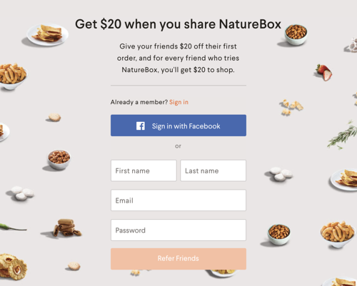 NatureBox Friendbuy Refer a Friend Widget