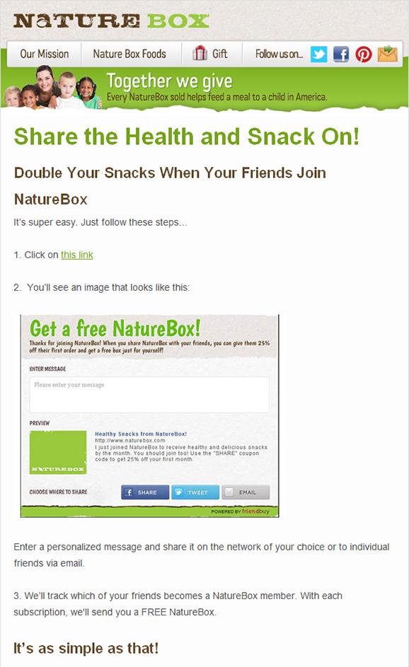 NatureBox Newsletter Sharing Incentive