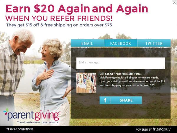 ParentGiving referral incentive