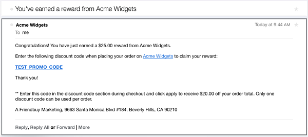 referral reward email example