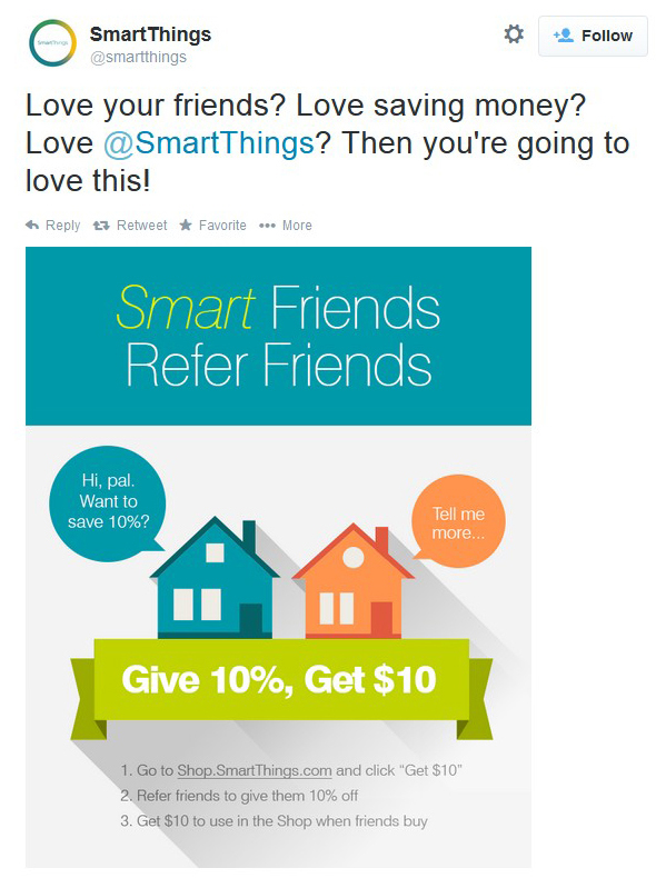 SmartThingse rferral incentive