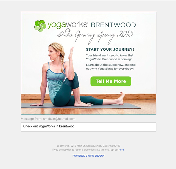 yogaworks shared email template