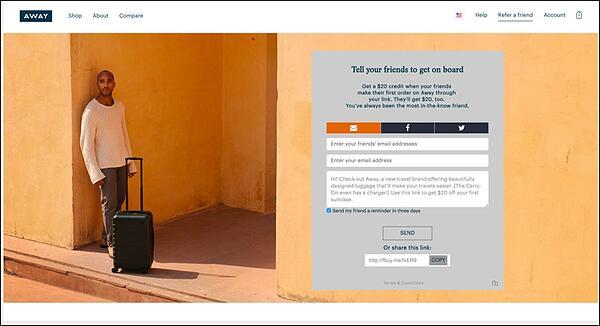 Away Travel Landing Page - Referral Marketing Tactics of the Best Brands