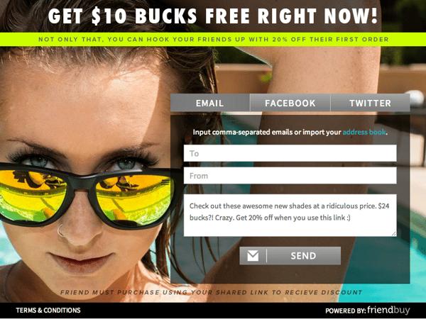 blenders eyewear refer a friend campaign