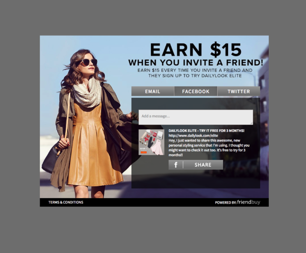 Daily Look post purchase refer a friend