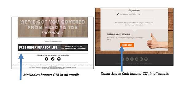 Referral Marketing Tactics of the Best Brands - Email - MeUndies and Dollar Shave Club