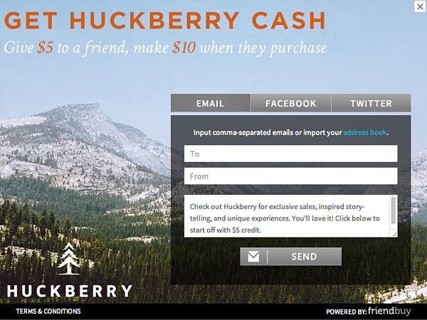 huckberry ecommerce referral campaign
