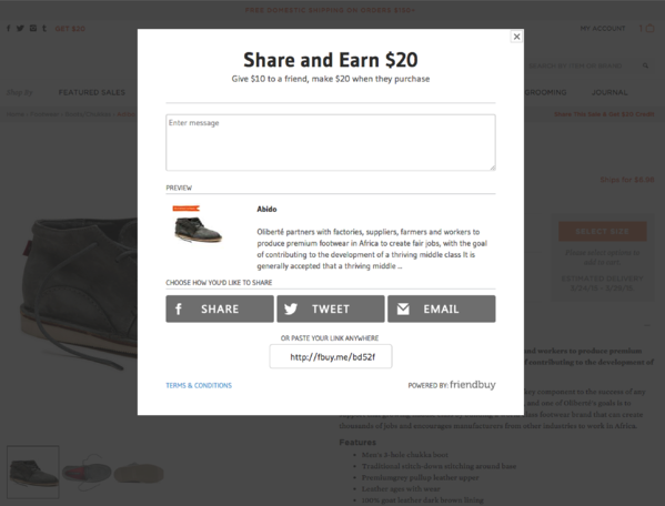 Huckberry product page sharing