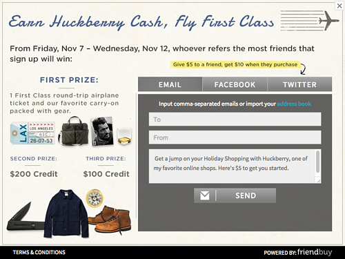 huckberry holiday referral promotion