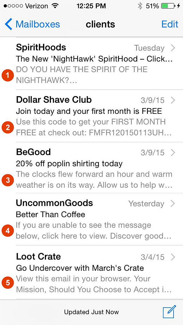 mobile pre-header examples - email blast - referral marketing