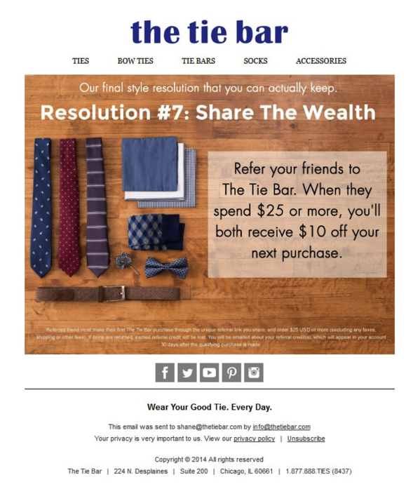 the tie bar email campaign