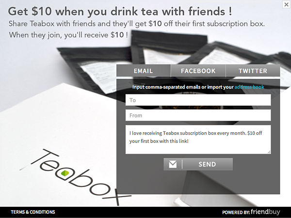 teabox ecommerce referrals
